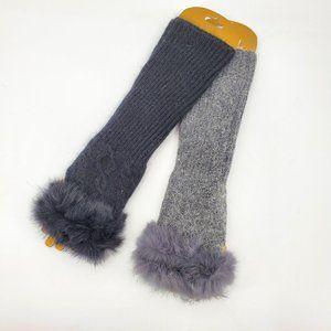 Envy Faux Fur Trim Rib Knit Fingerless Gloves
